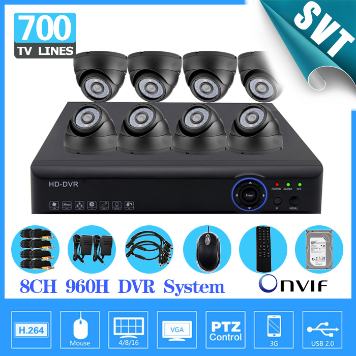 700TVL 8 CH HDMI 1080P DVR NVR kit 8pcs dome indoor CCTV Home Surveillance Security Cameras System 8ch 1tb hdd hard drive SK-128(China (Mainland))