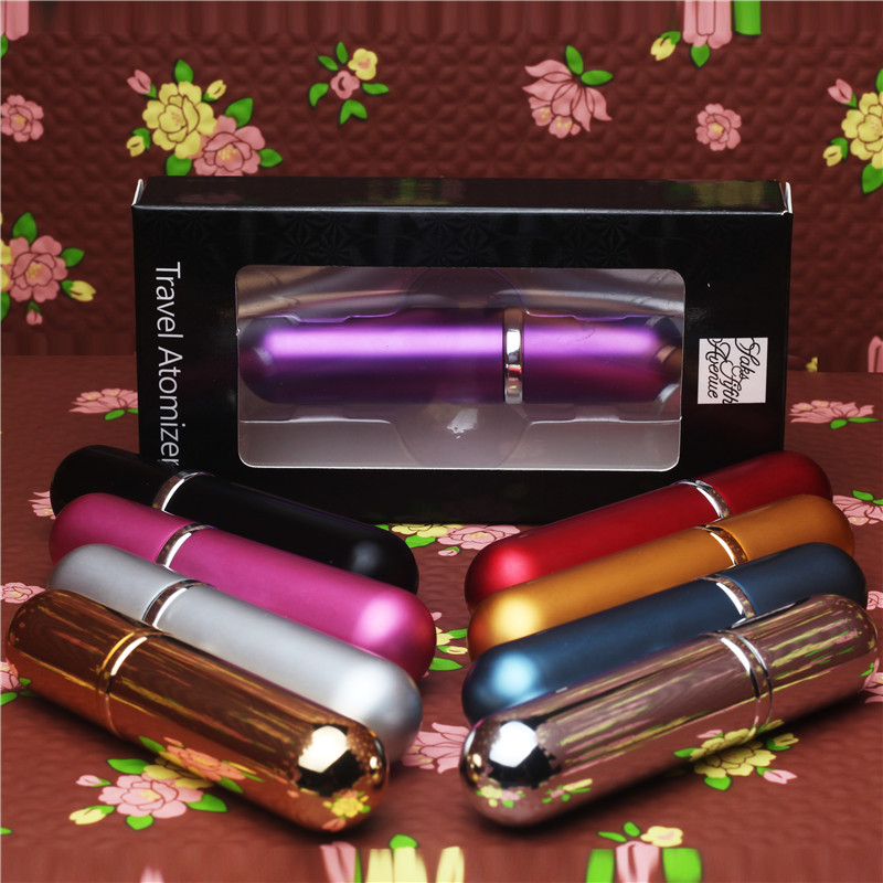 5 ml Hot Sale Mini Portable For Travel Aluminum Refillable Perfume Bottle With Spray&Empty Cosmetic Containers With Atomizer(China)
