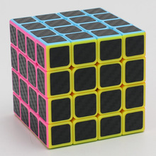 4x4x4 Carbon Fiber Sticker Neo Cubes Speed Smooth Fidget Cubes Profissional Competition Magico Cubo For Children Gift(China)
