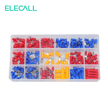 295Pcs/ Box 18 In 1 Insulated Terminals Spade Ring Fork U-type Electrical Crimp Connector Tube Wire Connector Assortment Kit