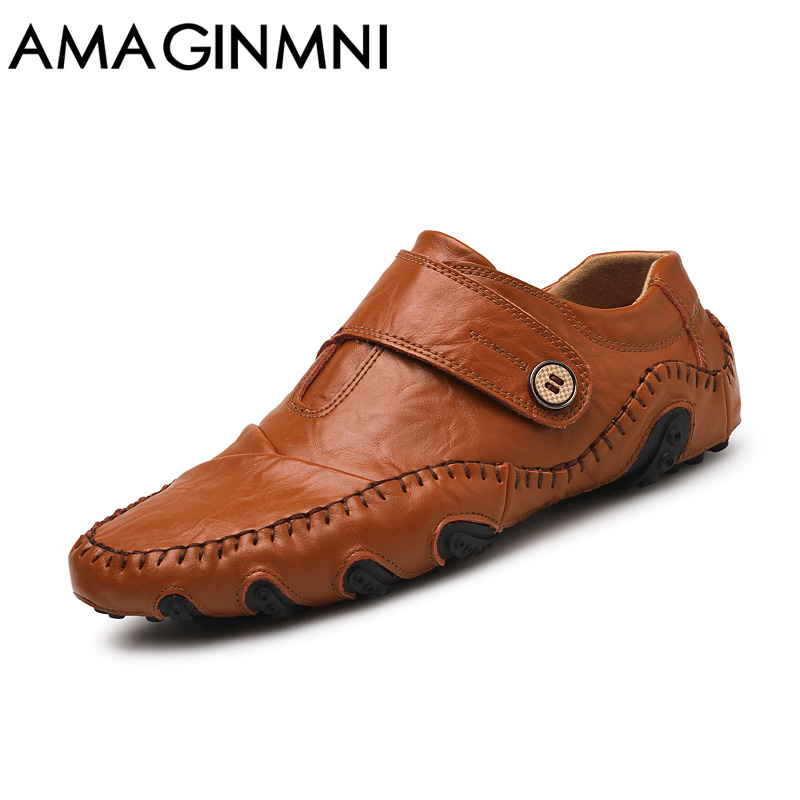 AMAGINMNI Fashion British Style Men Causal Shoes Genuine Leather Slip On Men Shoes High Quality Outdoor Shoes Zapatos Hombre <br>