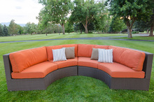 2017 Garden Sofa Rattan Furniture Outdoor Wicker Curved Sofa Sectional(China)
