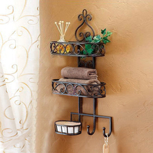 Creative metal crafts three bathroom Storage wall mount wrought iron soap toiletries shelf display finishing sub-pod