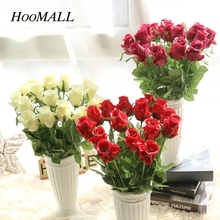 Hoomall Valentine's Day PU Rose Valentine's Handmade Rose Flower Artificial Flowers Home Wedding Decoration Valentines Day Gift(China)