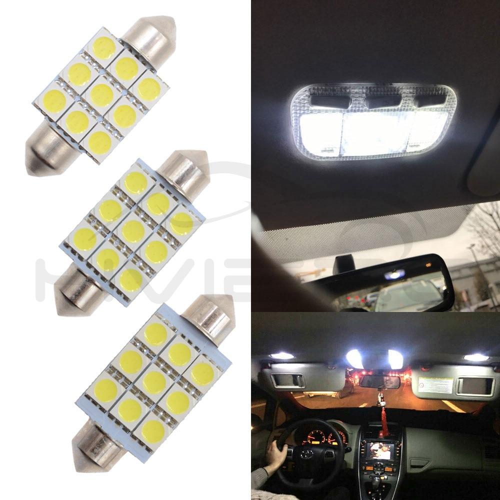 Hviero 31mm 36mm 39mm 41mm 5050 9Led White Car Led DC 12V Bright C5w Parking Door Festoon Dome backup Lamp Turn signal Bulb Tail light