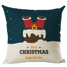 Best Christmas Cartoon Cotton Linen Cover Santa Claus Pillowcase For Child Gift(Style 19 Santa Claus on the chimney)
