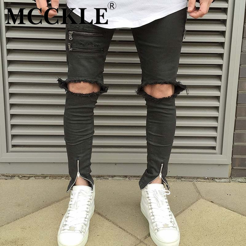 Hi-Street Men Destroyed Jeans Ankle Zipper Designer Ripped Denim Trousers For Male Multi Zipper Streetwear Slim Fit Jean JoggersОдежда и ак�е��уары<br><br><br>Aliexpress