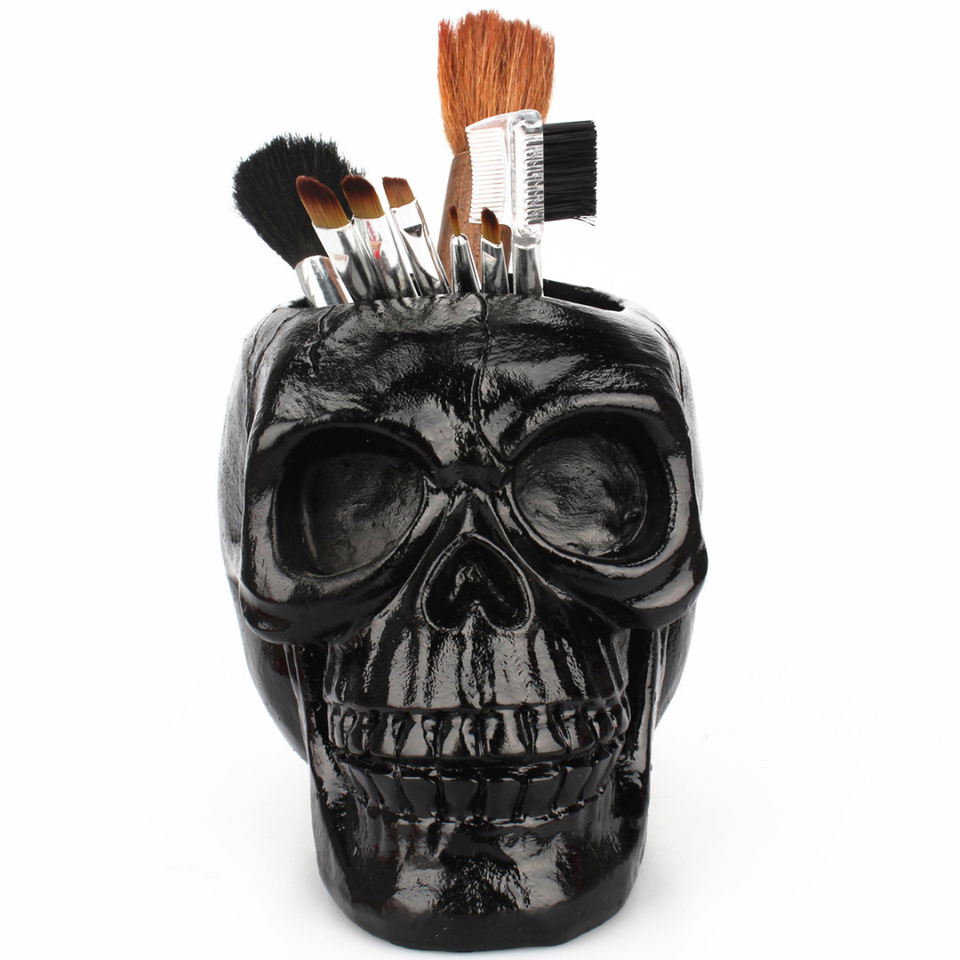 Skull Head Figurine Skeleton Ornament Stationery Pencil Pen Holder Makeup Tools Storage Office Home Decoration