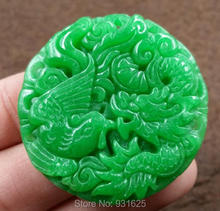 Beautiful Natural Green Jade Pendant Jade Carved Chinese Dragon Phoenix Lucky Pendant + Rope Necklace Fashion Jade Jewelry