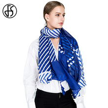 FS Cotton Linen Scarf Women Blue And White Striped Winter Warm Tassel 2018 Long Luxury Brand Beach Scarves Shawls Wraps Pashmina(China)