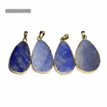 Wholesale Water Unique Drop Shape Natural Blue Aventurine Stone Pendant DIY Fit Necklaces For Jewelry Making about 23-36mm(China)