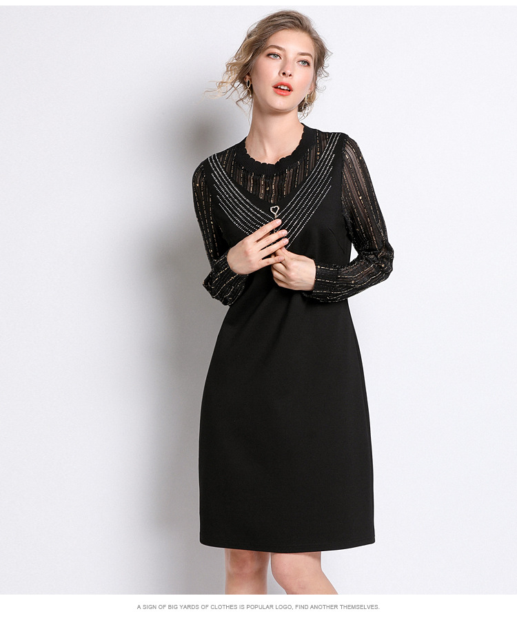 Plus Size Striped Mesh Knitted Long Sleeve Tunic Dress Women Elegant Casual  Office Party Fashion Beach Dress Lady Clothing Black