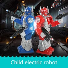 Children electric robots toys boys will walk with cool lights music dancing robots(China)