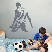 Removable Cristiano Ronaldo Number 7 Wall Sticker Football Portugal La Liga Real Madrid Decal Kids Boys Bedroom Stickers NY-349(China)