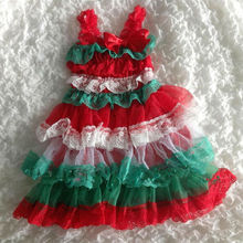2017 Baby Girl's Christmas Petti Lace Dress White Green Red Lace Princess Dress Party Girls Dress For Toddler Girls 6M-6Age(China)