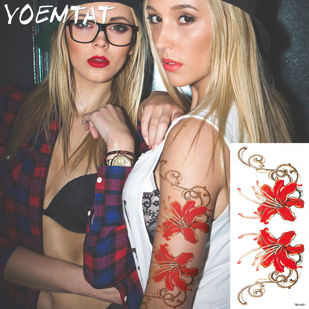 25 style flower arm shoulder tattoo stickers flash henna tattoo fake waterproof temporary tattoos sticker women 5