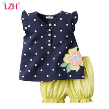 LZH 2017 Summer Kids Girls Clothes Set Polka Dot Print T-shirt+Shorts 2pcs Outfit Baby Girls Sport Suit Children Clothing Sets
