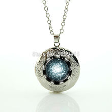 Collier Maxi Necklace Collares Galaxy Surface Universe Space Jewelry Light Out Of Perfume Locket Pendant Glass Cabochon N 882