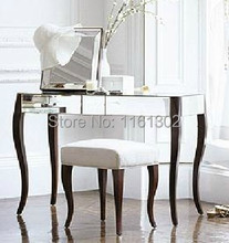 MR-401108 solid wood legs mirrored dressing table set with chair/stool