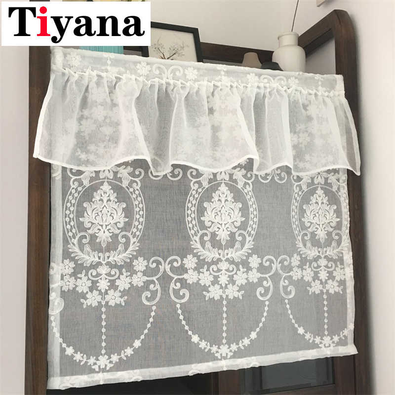 White Embroidered Short Half Curtain Lace Valance Curtains For Windows Desk Curtains Kitchen Door Partition SC027D3
