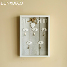 DUNXDECO Warm Heart Home Wooden Wall Hanger For Decoration Craft Key Oraginser Display Rack Home Hall Deco Gift