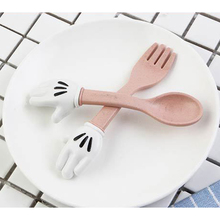 2Pcs Cartoon Child Cutlery Knife Fork Plastic Natural Wheat Kids Mini Dinnerware Set Tableware For Children Kitchen Accessories