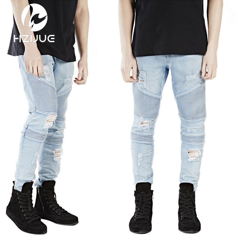 Mens Skinny Jeans Men Runway Distressed Slim Elastic Jeans Denim Biker Jeans Hip Hop Pants Acid Washed Jeans For MenÎäåæäà è àêñåññóàðû<br><br>
