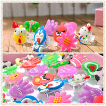 10pcs/lot Random Kids LED Flashing Light Ring Blinking Party Supplies Soft Rave Glow Jelly Finger Rings(China)