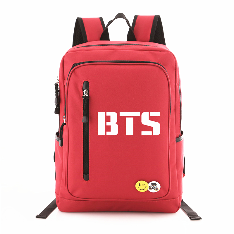 2018 New Kpop BTS Bangtan Boys Logo Door BTS Letter Backpack Rucksacks Student Schoolbag Backpacks Mochila Fans Collection <br>