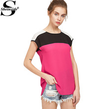 Sheinside Color Block Blouse Women 2017 Buttoned Keyhole Cap Sleeve Casual Summer Tops Brief O Neck Patchwork High Low Blouse