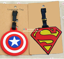 Cool 2pcs/set super captain logo luggage tag BAG TAG School bag key chain ring kid toys Christmas gift toy anime hero for boy