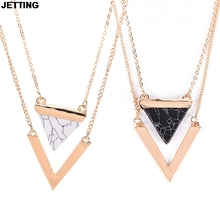 JETTING 1Pc Multilayer Triangle Turquoises Necklace For Women Gold Color Chain Chocker Necklace
