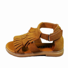 Girl Summer Shoes 2017 Fashion Girls Sandals Genuine Leather Child Shoes Vintage Fringed Flat Sandals for Girls Baby Shoes(China)