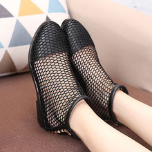 Genuine Leather Woman Short Boots Fashion Autumn Summer Mesh Hole High Heel Martin Lady Boots Female Shoes Martin