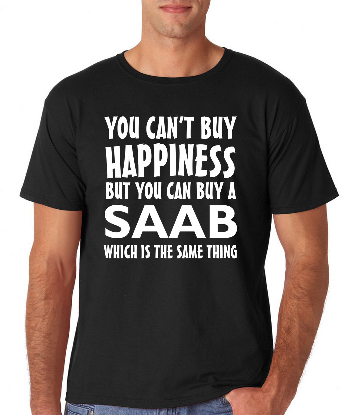"2017 New Arrival Men T Shirt New Saab Car Suv T Shirt Tee Gift Funny Design ""you Can't Buy Happiness""(China (Mainland))"