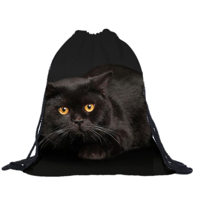 kai yunon 2016 New Fashion Unisex Cat Backpacks 3D Printing Bags Drawstring Backpack Aug 19<br><br>Aliexpress