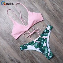 BANDEA women swimsuit halter swimwear maillot de bain bikini floral bikini set soft cup bathing suit with padding HA008