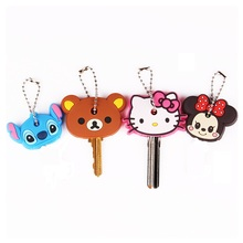 ZOEBER Anime Key Cap Cat Minion Key Chain Women Bag Charm Key Holder Mickey Key Ring Owl Keychain Hello Kitty Stitch Key Cover