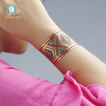 VT343/Latest 2016 Flash Tattoo in Gold Silver Body Temporary Metallic Fake Tattoos Wrist ArmBands Bling Boho Tattoo Bracelet