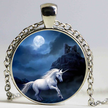 New style necklace jewelry equestrian horse Nature black and white Animal Art Art Round pendant necklace fashion jewelry