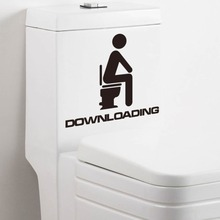 DOWNLOADING Funny Toilet Decal Wall Mural Art Decor Funny Bathroom Sticker Gift