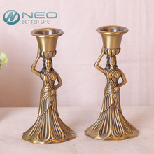 "NEO 2 Pcs/Pair 14.5cm(5.7"")Height Metal Retro Beauty Candlestick Pillar Candle Holder Cup Pedestal Candlelight Dinner"