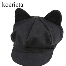 Cute Children Girls Newsboy Cap with Cat Ears Toddler Kids Boys Autumn Winter Solid Beret Hat Black(China)