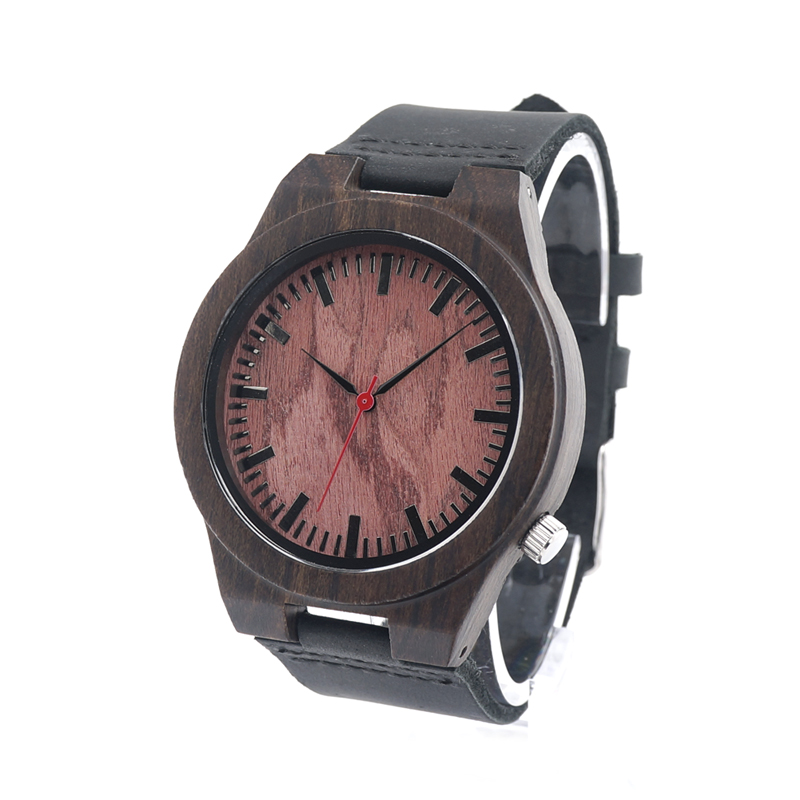 BOBO BIRD B15 Black Ebony Wood Watch Red Wooden Dial Genuine Leather Wooden Quartz Watches for Men in Gift Box <br><br>Aliexpress