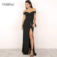 Buy women sexy dress side split long cold shoulder backless sleeveless party clubwear pencil dresses slit cut ankle length slim for $20.63 in AliExpress store