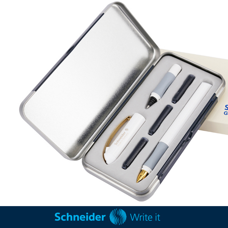 Schneider Glam Gold 23k Gold Plated Pen White/Black Interchangeable Double Nib Fountain Pens Ballpoint Set + 3pcs Ink Cartridges<br>