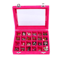 Quickdone 1Pcs 24 Grids Velvet Jewelry Box Rings Earrings Necklaces Makeup Holder Case Organizer Women Jewelery Storage HG0498