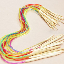 18Pcs Multicolor Smooth Bamboo Handle Plastic Tube Circular Knitting Bleached Needles Yarn Craft Handcraft Tool Set [2.0-10.0MM]