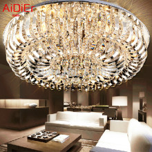 New flush mount K9 crystal modern minimalist lamp living room remote control chandelier Dia80*h35cm fixture TYI-001