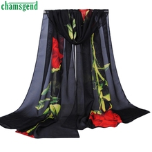 Trendy Style New Fashion Women Rose Long Soft Wrap Scarf Ladies Flowers Spring Shawl Chiffon Scarves Christmas Gift 1PC